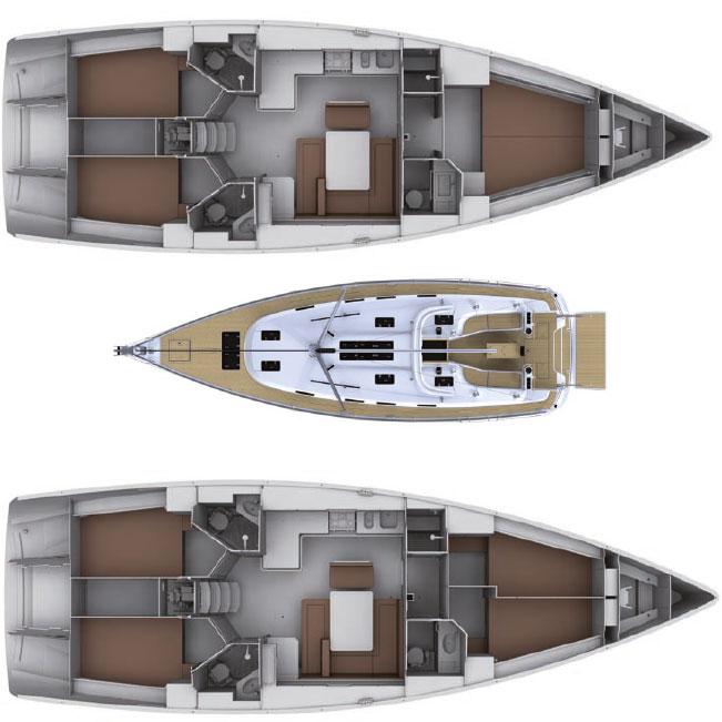 Tenrag Yacht Charters - Bavaria Cruiser 45 plan