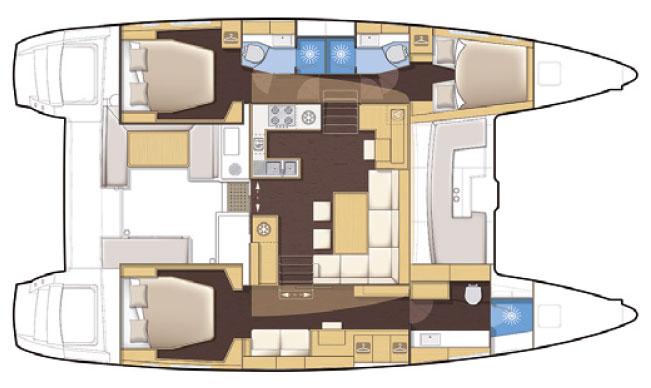 Tenrag Yacht Charters - Lagoon 450 Flybridge plan