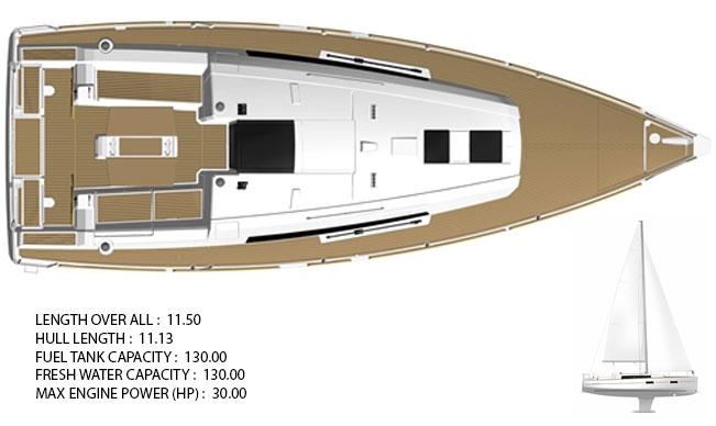 Tenrag Yacht Charters - Oceanis 38 plan